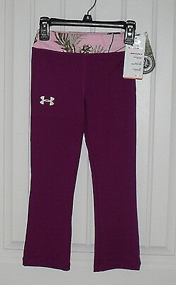 NWT Girls Under Armour REALTREE Fitted Silky Leggins Pants  Sz 4