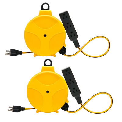 Retractable Extension Cord Reel Wheel Electric Power W/ Outlets Heavy Duty 2pack