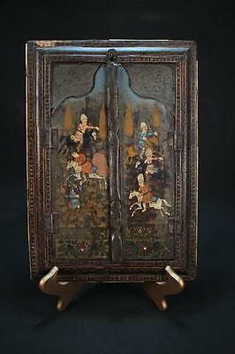 Fine Persian Marquetry Khatamkari-work Mirror, Painting. 19th C.