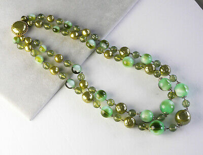 Vintage chunky 2-strand olive & mint green faux pearl necklace. Fancy clasp