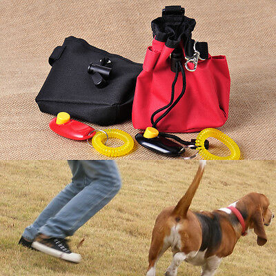 Dog Pet Puppy Treat Training Bait Ball Pouch Clicker Waist Bag Reward Obedience