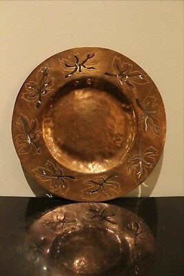 Arts & Crafts Era Hand Hammered Solid Copper Plate with Leaves and Piercings