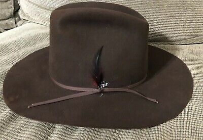 5cbf0c97aaad9 STETSON 4X XXXX BEAVER 22 Chocolate Western Cowboy Hat Size 7 3 8 L Estate