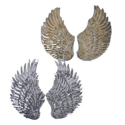 1 Pair Sequin Feather Wing Patch Embroidery Applique Iron on Cloth Badge Craft