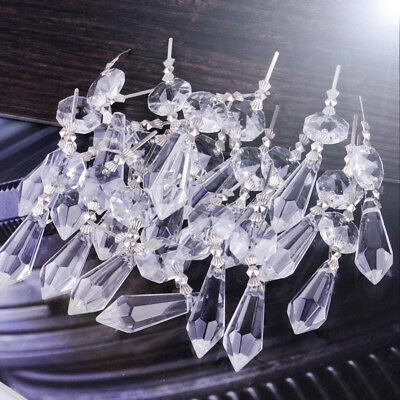 20pcs Clear Chandelier Glass Crystal Lamp Lighting Prisms Drop Hanging Pendants