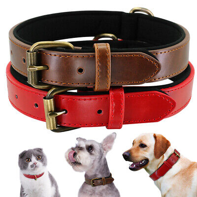 Real Leather Dog Collar Red Brown Cozy Padded Collar for Small To X-Large Dogs
