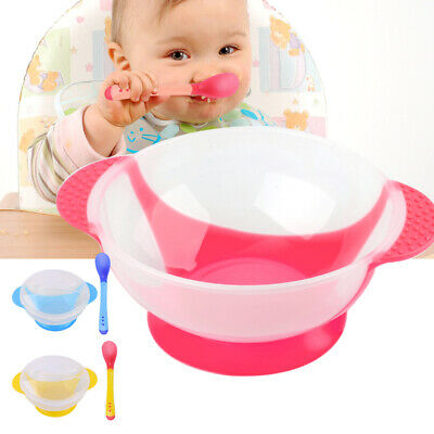 Baby Kids Slip-resistant Suction Bowl Spoon Tableware Set Temperature Sensing