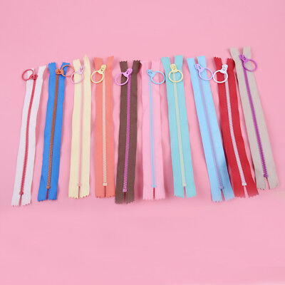 10pcs Zip Hanging Ring Puller Zipper Closed End Clothes Sewing Accessories 20cm