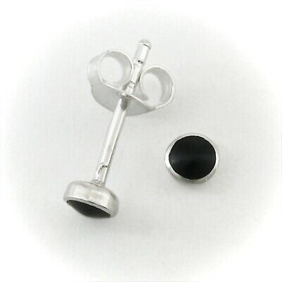 4mm Onyx 'Button' Post Earrings in SOLID 925 Sterling Silver - NEW