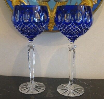 Cobalt Blue Cut To Clear Crystal 2 Wine Goblets