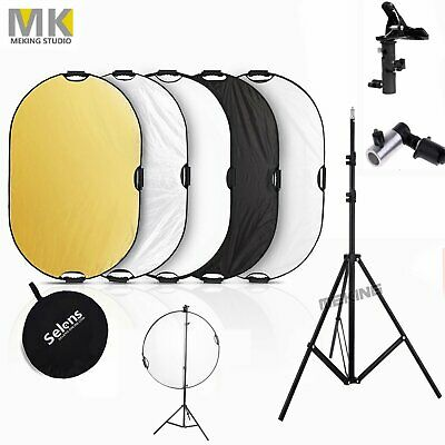 5 in 1 Collapsible Light Reflector Stand kit Photography Studio Multi Disc Panel