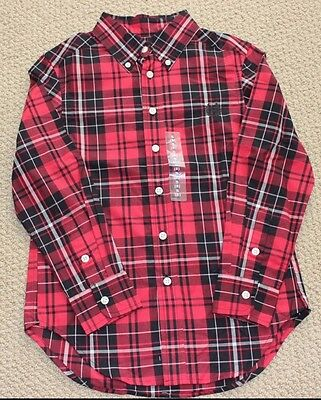 Chaps 18 M Ralph Lauren Button Shirt Long Sleeve Red Black Plaid NWT