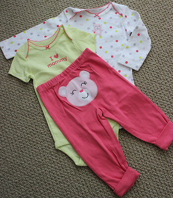 Carter's 2 Bodysuits 12 M Pants I Love Mommy Teddy Bear 3 Pc NWT L/S S/S