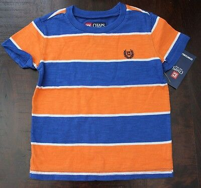 Chaps 24 M Ralph Lauren Shirt Tee Top S/S Boys Blue Orange Stripe NWT