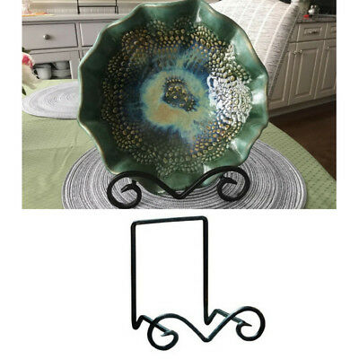 Small Metal Bowl Stand Display Decorative Easel Plate Black Platter Holder Deep