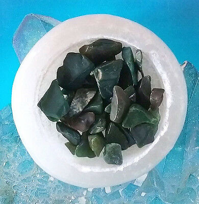 "Solid Selenite Crystal Hand Carved Natural Gemstone 2"" Bowl With Bloodstone"