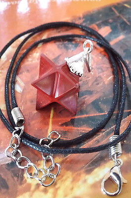 Red Jasper Crystal And Silver Sacred Geometry Merkaba Star Pendant With Chain