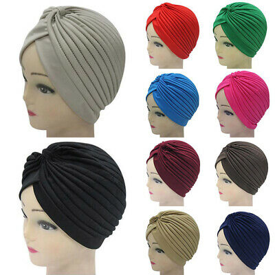 Hot Headband Stretchy Turban Muslim Hat Wrap Chemo Hijab Knotted Indian Cap
