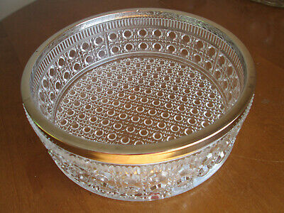 """Heavy  Lead Crystal 9"""" Bowl Clear With Silver Plated Rim - Criss Cross & Cane"""