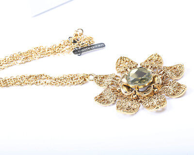 Gold Tone Bloomingdale's Necklace with Cream/Pale Green Rhinestone
