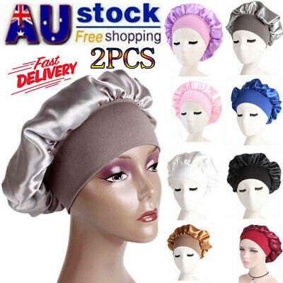 2pcs Women Satin Headscarf Sleeping Bonnet Hair Wrap Silk Cap Headband Headwear