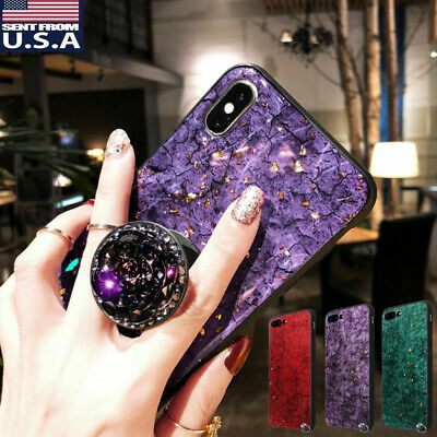 iPhone 8/6s/6/7+ Plus Luxury Diamond Crystal Marble Case Cover Bling Ring Holder