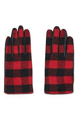 Topshop Check Leather Gloves Red Size S/M rrp £25 DH085 HH 16