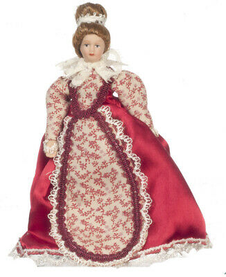 Victorian Mother Doll In Red Dress, Dolls House Miniature, 1.12 Scale