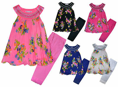 Girls Floral Set Dress Tunic Top and Leggings Set New Kids Outfit Age 2-12 Years