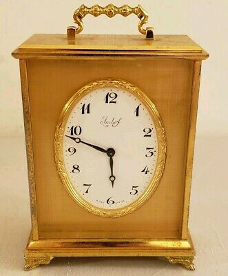 Vintage Working IMHOF Swiss 15 Jewel Lever Escapement Brass Carriage Clock w/Box