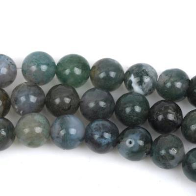 10mm MOSS AGATE Round Beads, Green Gemstone full strand, about 50 beads gag0381