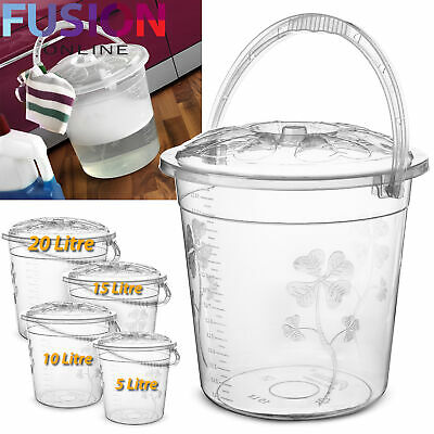 Plastic Bucket with Lid and Handle Storage Strong Kitchen Garden Water Carrier