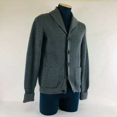 d156e3e7132a5 Tom Ford Mens Shawl Collar Gray Cardigan EUR 50 US L Ribbed Merino Wool  $2750