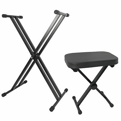 Rocket Keyboard Stand and Stool Set - Pack with X Frame Stand and Folding Bench