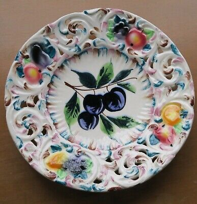 Italy Hand Painted Fruit Plate Dish Crown Logo