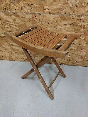 Vintage Child Folding Wood Camp Stool,Slat Seat,Upcycle Doll Chair
