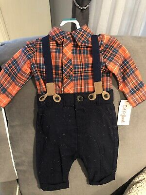 ddb5d2573 NWT Cat & Jack Baby Boys Size 0-3 Outfit Suspenders Easter Church  Thanksgiving