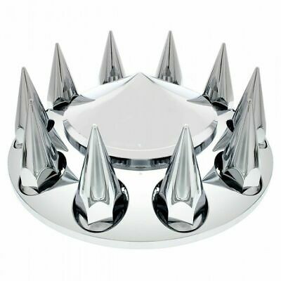 front axle cover chrome cone pointed hub cap 33MM spike screw on lug nuts each