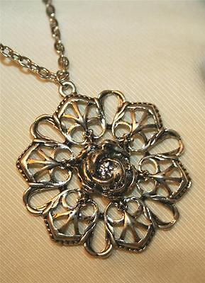 Lovely Openwork Filigree Point Armed Wrapped Rose Silvertone Pendant Necklace