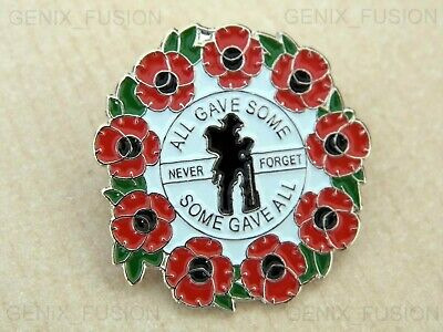 Remembrance Day 2019 All Gave Some Gave All Poppy Soldier Metal Pin Badge Brooch