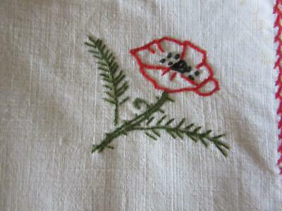 6 Charming Vintage French Linen Floral Hand-Embroidered Napkins..