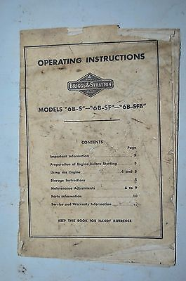 Briggs & Stratton Operator's Manual for 6B-S, 6B-SF, 6B-SFB Engines