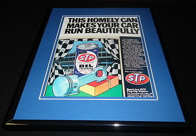 1968 STP Oil Treatment Homely Can Framed 11x14 ORIGINAL Vintage Advertisement