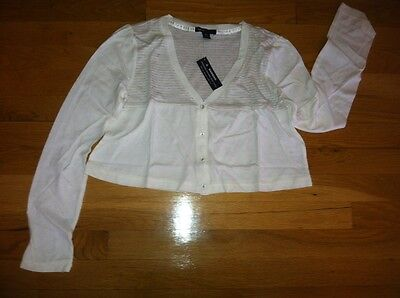 Gap Girls Ivory White Stripe Cropped Dance Yoga Cover-Up Org. $24.95 14-16 Bnwt