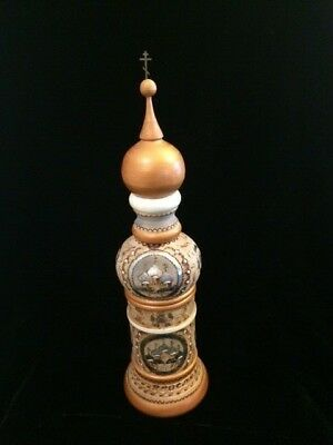 Vintage Russian Wood Bottle Holder Hand Carved Cathedral