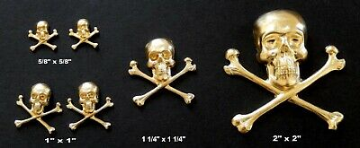 Vintage Brass Stampings Raw Brass /  Skull and Cross Bones /4 Sizes / Mixed Lots