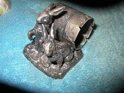 ANTIQUE 2 RABBITS silver/silverplate figural napkin ring/holder Pairpoint # 68