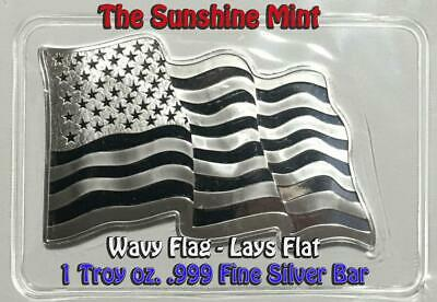 The Sunshine Mint Wavy American Flag 1 Troy Oz. .999 Fine Silver Bar Sealed