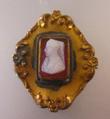 Antique Victorian Hand Carved Stone Cameo Gilt Watch Brooch Pin Antique Jewelry