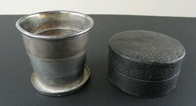 Antique Rockford Quadruple Silver Plated Folding Travel Cup w/ Leather Case